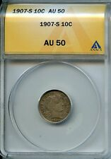 1907 S 10c Anacs Au 50 (About, Almost Uncirculated) Barber Dime