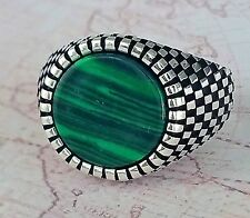 Authentic Malachite Gemstone Solid 925 Sterling Silver Men Ring Gemstone