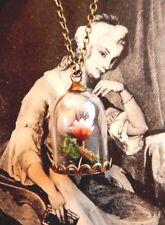 DRIED FLOWER IN BELL JAR NECKLACE rose terrarium Beauty & the Beast bronze E4