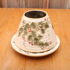 Yankee Candle Large Shade and Plate Holly Berries & Leaves Christmas Winter