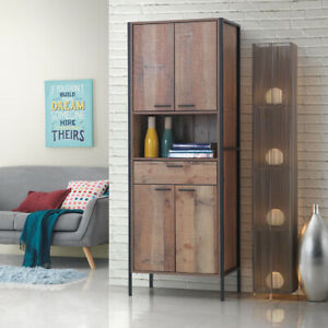 Industrial Tall 4 Door 1 Drawer Kitchen Storage Pantry Cabinet Unit Cupboard Oak