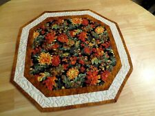 """New listing Handmade Thanksgiving Table Runner with fall foliage and flowers L 18"""" x W 18"""""""