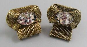 Mens Vintage Costume Jewelry PURPLE SNOW GLOBE MESH WRAP AROUND CUFFLINKS MM10