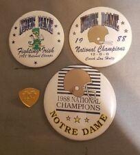 3-1988 Norte Dame Fighting Irish Champion Pin Back Buttons Football 1 Gold Pin