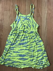dELiA*s Going out Tank Top Women's Size Small Neon Green And Gray Zebra Striped