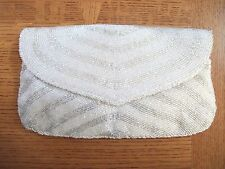 Vintage DeLill Ivory Beaded Clutch Purse w Silver Chain Strap Conversion