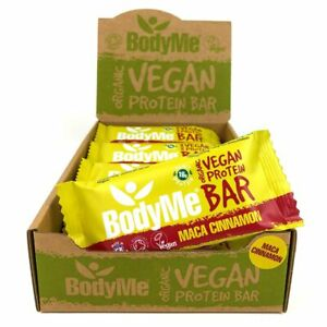BodyMe Organic Vegan Protein Bar   Raw Maca Cinnamon 12 x 60g Bars   16g Protein