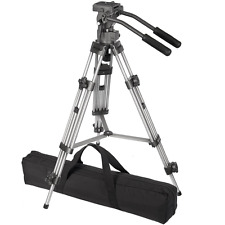 Professional Video Camera Tripod Stable Holder 75mm Bowl Dual Fluid Drag Head