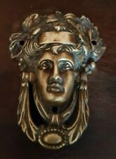 SMALL antique brass miniature door knocker Roman Greek goddess foliage