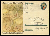 Germany 3rd Reich Postcard German Cover WW2 WWII Hitler Youth Stamp Cancel Used