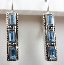 Silvertone Sky-Blue Baguette Rhinestone Etruscan Design Stick Earrings