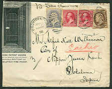 1891, Pretty 3 color Bank Note issues tied on trimmed advertising cover to JAPAN