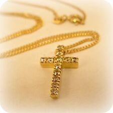 "Cubic Zirconia Cross on 9 carat Gold 20"" Curb Chain"