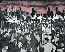 RARE ORIGINAL MIRANDA HALSBY R.B.A ETCHING London Riots Language of the Unheard