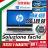 """PC NOTEBOOK PORTATILE HP 8460P 14"""" CPU INTEL i7 4GB RAM SSD 180GB WIN 10 PRO!!"""