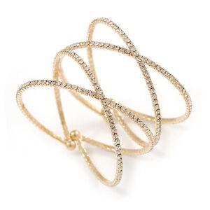 Statement Gold Tone Clear Crystal Double Cross Motif Flex Cuff Bracelet -