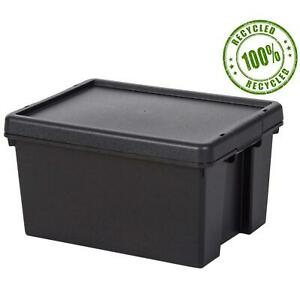 Wham Bam Recycled Heavy Duty Box 16L Storage, Strong, Black Box, With Lid