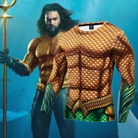 DC Superhero Aquaman Costume Cosplay Compression Tights Quick-Drying T-shirt