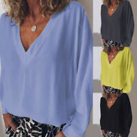 Mode Femme Chemise Simple Loose Manche Longue Col V Haut Tops Grande Taille