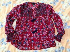 ♡ Womens NEXT Size 10 Red Chiffon Petite Gypsy Summer Shirt Top ❤