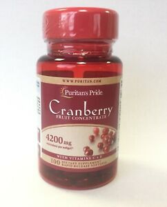 Cranberry Fruit Concentrate 4200mg Extract Vitamin C E 100 Softgels Capsules UTI