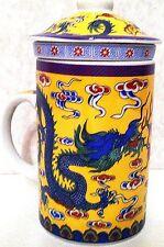 Yellow Dragon Porcelain Tea Cup Coffee Mug with Infuser and Lid Chinese Tea Mug
