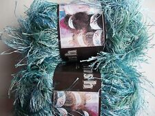 MeiMei Fancy Knitting Yarn, eyelash, Green/aqua tones, lot of 2 (57 yds each)