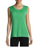Misook Meadow Green Knit Sleeveless Tank Shell Top M