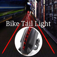 2 Laser + 5 LED Mountain Bicycle Bike Cycle Rear Tail  Light Safety Warning Lamp