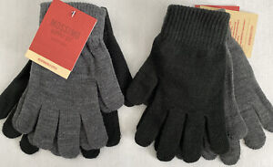 Lot of 4 Mossimo One Size Knit Gloves - 4 Pairs Total, 2 Gray & 2 Black, Women
