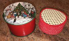 Christmas Tin w/ Unused Paper Coasters Decorative Vintage By Potpourri Press EUC
