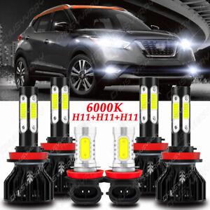 For Nissan Kicks 2017-2021 Front LED Headlight High&Low + Fog Light Bulbs Combo