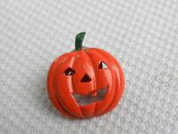 Halloween Pumpkin Pin Brooch Jack o Lantern Metal Orange Enamel