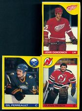 1985-86 O-PEE-CHEE OPC Gil Perreault Glen Resch BOX BOTTOM 3 CARD UNCUT PANEL