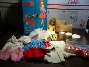 Large Lot VTG Skipper Doll Barbie's Sister 1963 Clothes Shoes Hats & 1964 Case