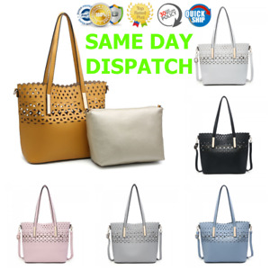 Inspired London Style Sylviee 2 in 1 Leather Cut Out Tote Bucket Bag