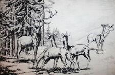 Vintage print mountain forest landscape deer herd