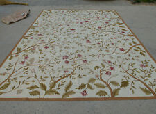 9' X 12' Aubusson New Zealand Wool Rug Full Floral Bunches Ivory Hand-woven