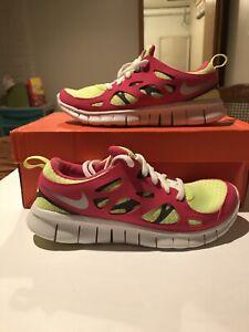 Nike Free Run 2 Volt Ice/Metallic Silver-Vivid Pink 477701-700 GS Size 5.5Y