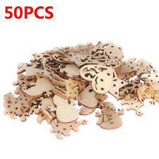 50Pcs Carve Natural Wood Chip Ornaments Christmas Decoration DIY Craft