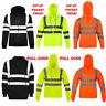 Hommes Haute Visibilité Capuche Fluorescent Sécurité Travail Sweat Zip Up Sur S'