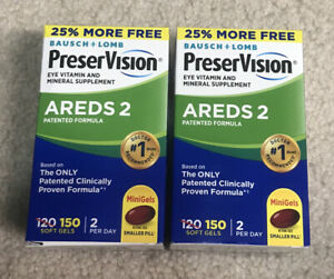 Lot of 2 PreserVision AREDS 2 Eye Vitamin 150 Mini Gels Total 300, Exp 2022.