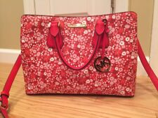 Michael Kors Camille Large Red Floral Leather Handbag Purse Crossbody NWT