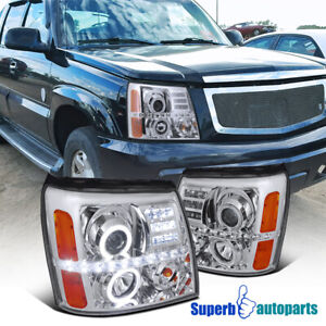 For 2002-2006 Cadillac Escalade Dual Halo Projector Headlights LED Strip Lamps
