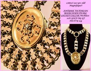1880s Antique Victorian 10k GOLD F BOOK CHAIN COLLAR PEARL LOCKET Necklace HEAVY