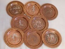 "Copper Sterling Egyptian style plates 8 pc set 4"" diameter Patina Camel Pyramids"