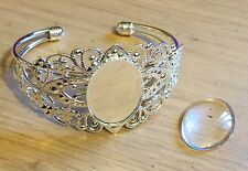Filligree Bangle 25 x 18mm Blank, Setting plus Matching 25mm x 18 Glass Cabochon