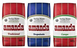 Amanda Yerba Mate Tea SAMPLER Pack - 3 x 150g each - FAST FREE SHIPPING