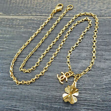 CHANEL Gold Plated CC Logos Clover Charm Vintage Necklace Pendant #5867a Rise-on