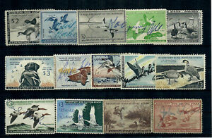 US Fourteen (14) FEDERAL DUCK STAMPS - ALL USED, SOME with FAULTS